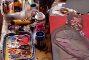 My studio work table paints, etc