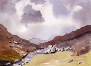 View of Llanberis Pass, Snowdonia, North Wales. before the rain.