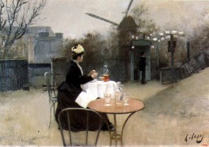 An old painting showing a plein air painter at work
