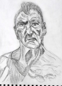 Portrait of Lucien Freud in pencil, from his self portrait.