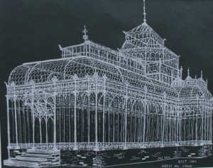 A Victorian Conservatory in pen and White Ink
