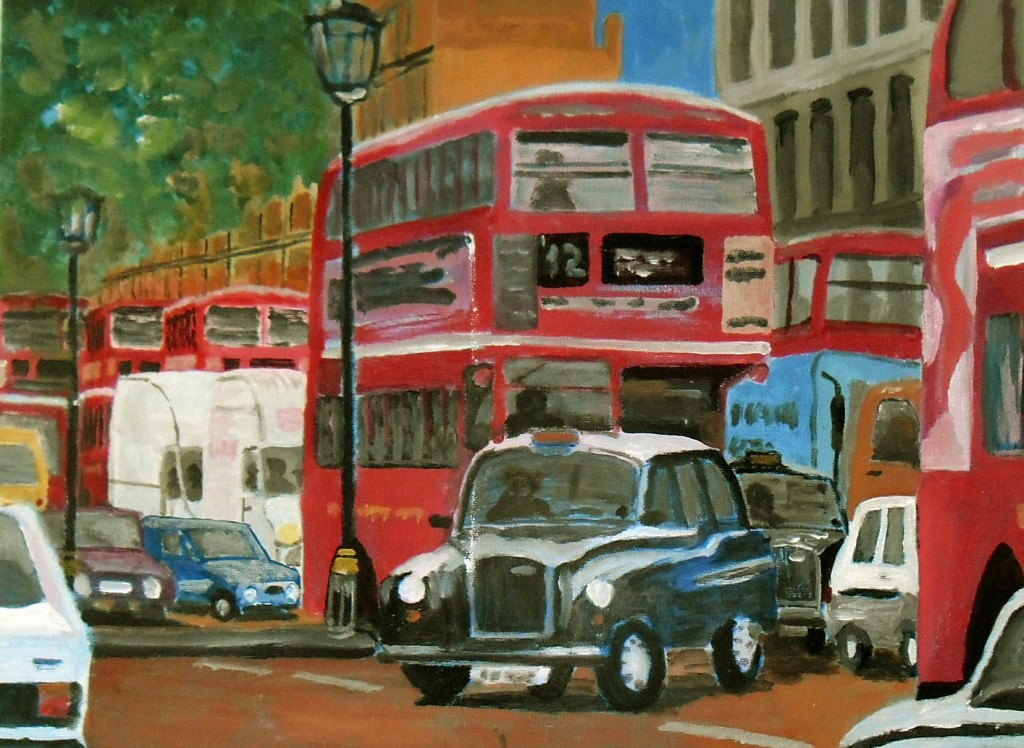London Traffic - an original acrylic painting on canvas