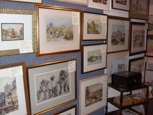 A corner of my former gallery, showing some original watercolours.