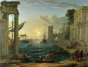 Claude Lorrain, Seaport and embarkation of the Queen of Sheba. 1648
