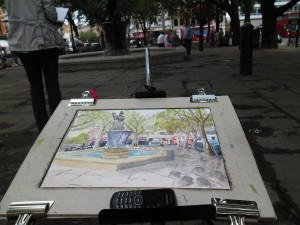 My watercolour of Sloane Square, London on the easel.