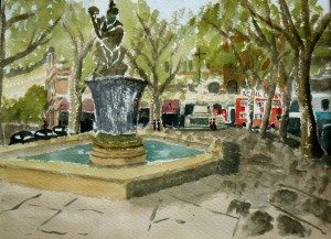 My watercolour of Sloane Square, London