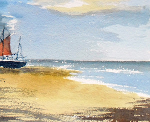 Beached yachts painting
