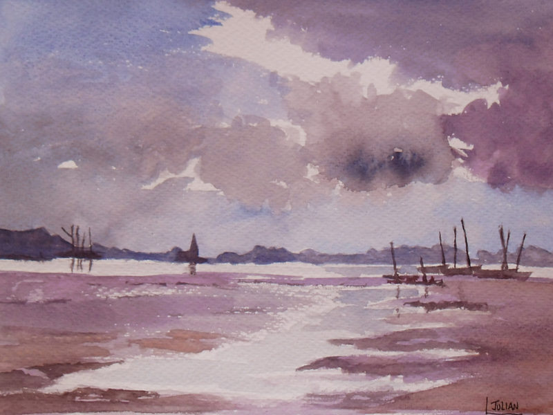 evening light watercolour