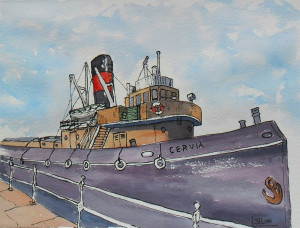 pen and watercolour CERVIA Tug
