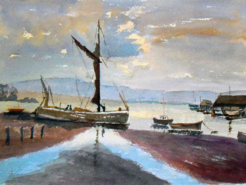 painting of old barges