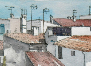painting of rooftops at Arles France