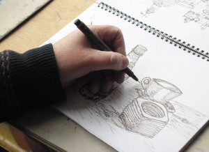 Sketching with a pen