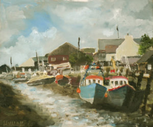 painting of boats at Queenborough, Sheppey