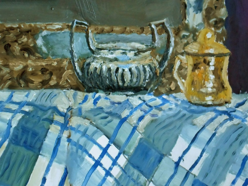 Oil Painting Still life with Blue Fabric