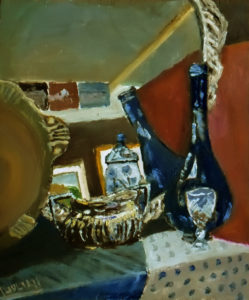 oil painting still life with blue bottle
