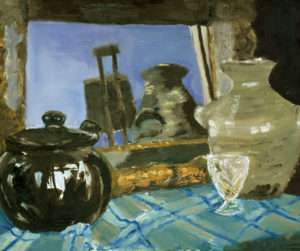 oil painting chocolate teapot still life