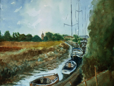 Boats on the river stour near Sandwich