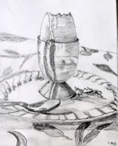 egg cup on a white plate pencil sketch