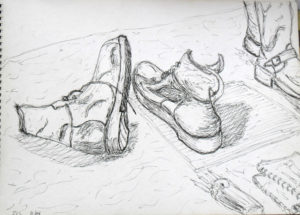 sketch of old boots
