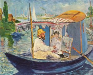 Claude Monet painting from his boat, by E Manet 1874