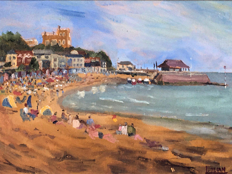 On Holiday at viking bay oil painting