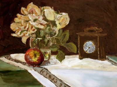 still life roses and an Antique Clock